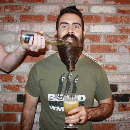 using your beard as a beer funnel