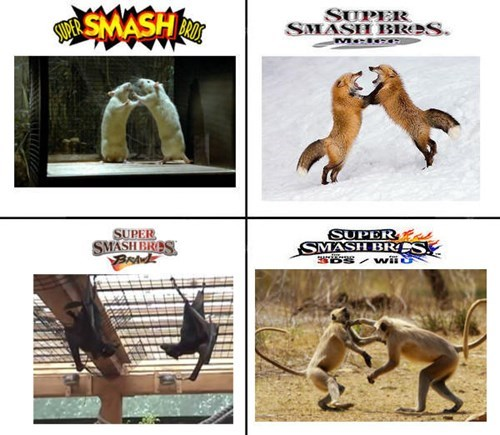 fox,meta knight,super smash bros,pikachu,diddy kong