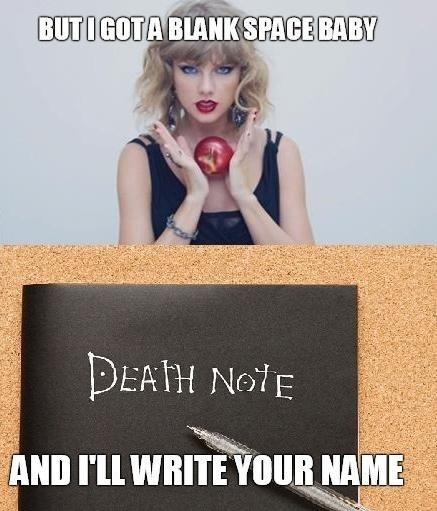 anime death note taylor swift blank space - 8434479104