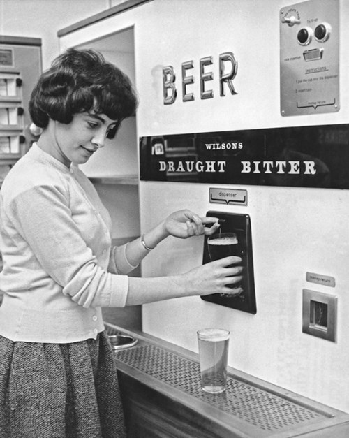 and old school beer vending machine