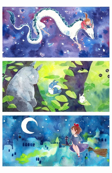 spirited away my neighbor tototo kiki's delivery service fan art watercolor art ghibli studios