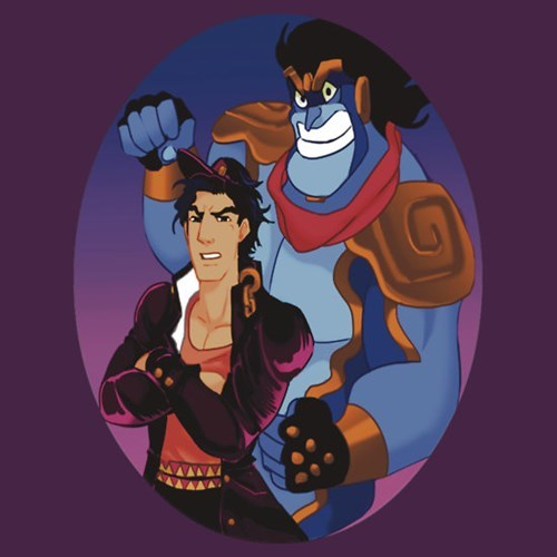 aladdin anime crossover cartoons disney for sale t shirts JoJo's Bizarre Adventure - 8434964992