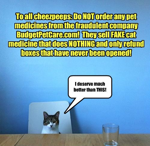 To all cheezpeeps: Do NOT order any pet medicines from the fraudulent company BudgetPetCare.com! They sell FAKE cat medicine that does NOTHING and only refund boxes that have never been opened! I deserve much better than THIS!