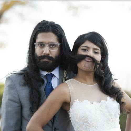 women uses husband's hair as a mustache