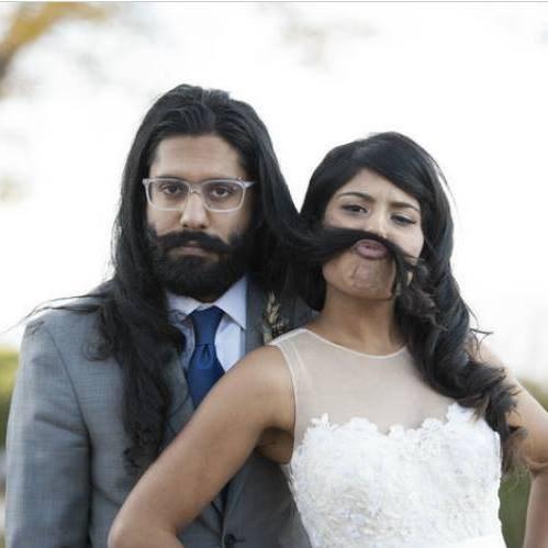 women uses husband's hair as a mustache