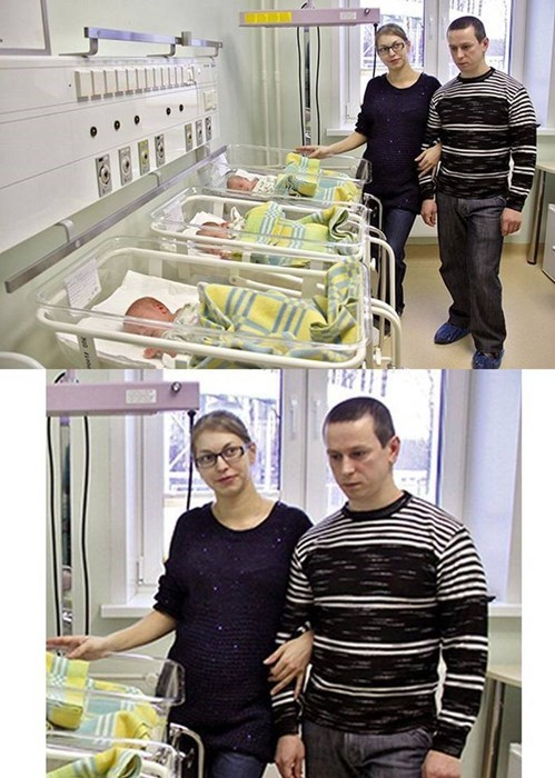 guy looks like he regrets having triplets