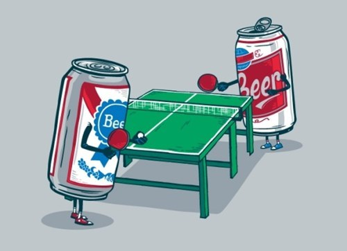 two beers playing ping pong