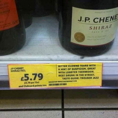 funny wine tasting labels in britian