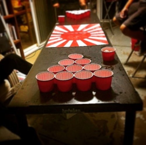 beer pong table with japanese flag