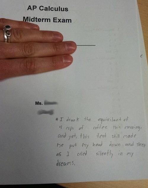 Boring test put student to sleep