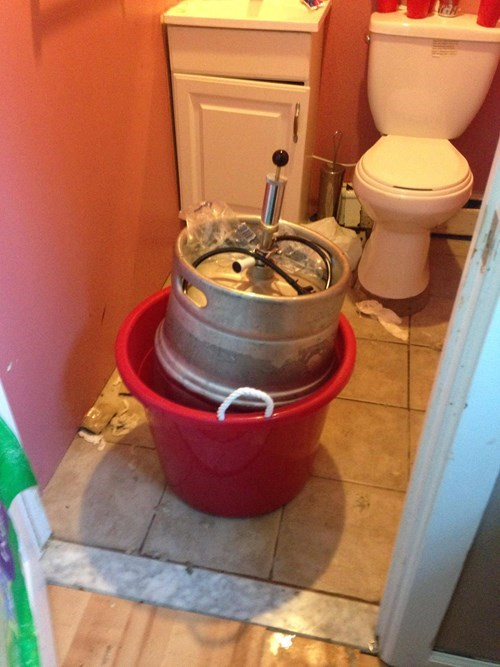 a keg in a bathroom
