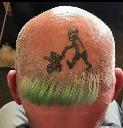 hair poorly dressed bald tattoos lawnmower - 8436475136