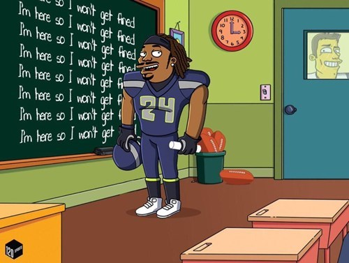 seattle seahawks super bowl seahawks marshawn lynch the simpsons - 8437075200