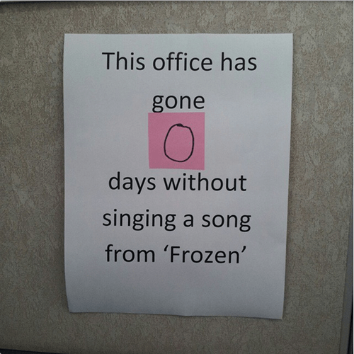 monday thru friday,sign,singing,frozen