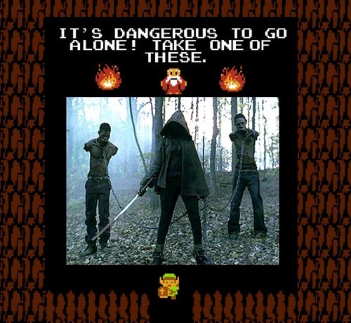 walker,michonne,its dangerous to go alone