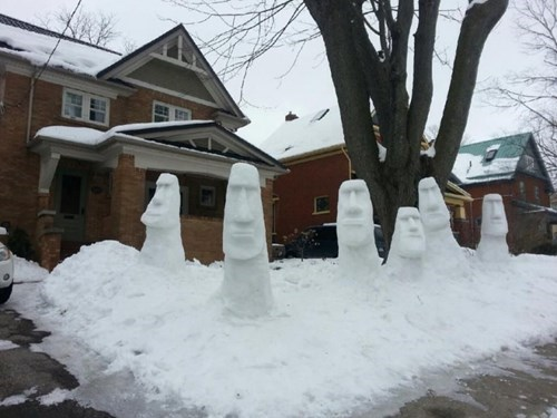 easter island insert gradius music here winter snow sculpture moai snowman