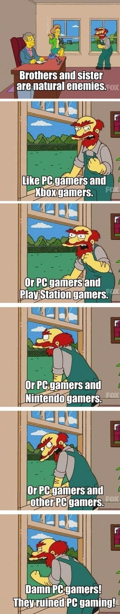 gaming,gamers,groundskeeper willie,the simpsons,PC MASTER RACE