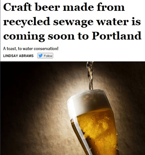 beer made from sewage water in portland