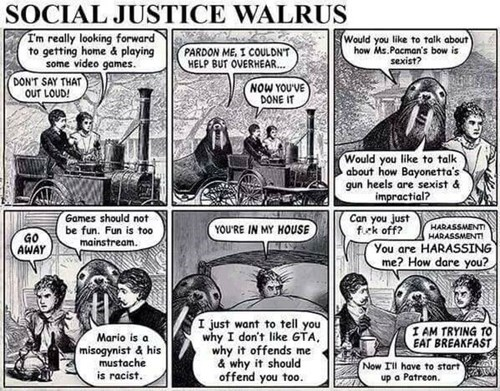 walrus,social justice warriors,web comics,gamergate