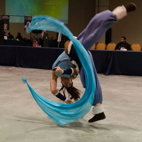 cosplay,gymnastics,water bending,korra