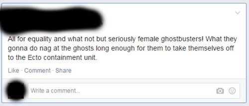 Misogyny facepalm Ghostbusters men vs women