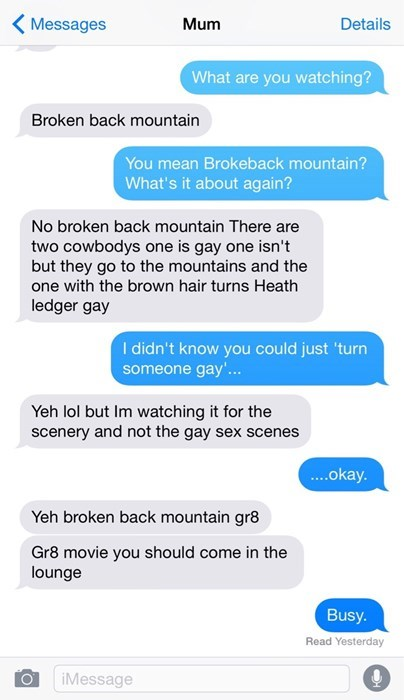 brokeback mountain,pr0n,sexy times,texting,mom