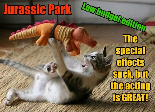 cat low budget caption jurassic park - 8438494464