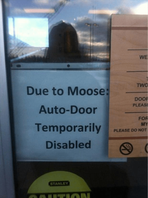 monday thru friday,door,sign,moose