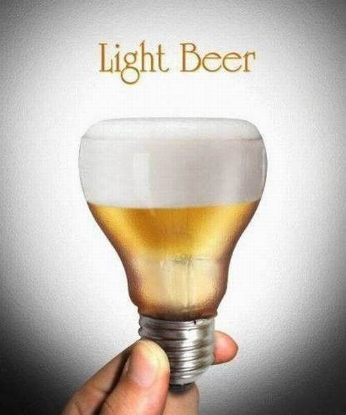 light beer pun is beer in a light bulb