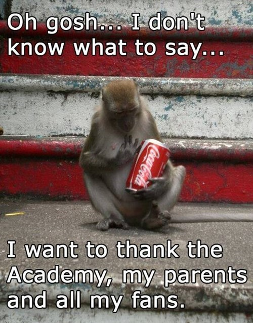 thank you,coke,monkey,academy awards,i have no idea what im doing