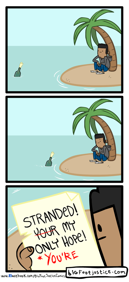 bottle winky face grammar stranded web comics
