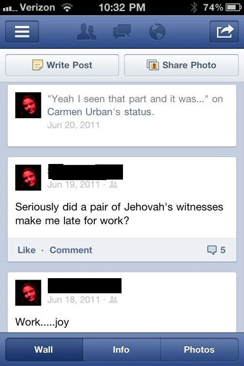 work late funny jehovahs witness