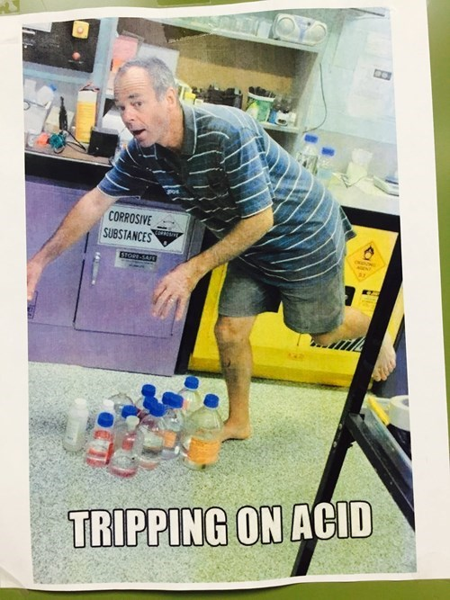 scientist trips over acid