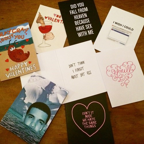 a collection of weird valentine's day cards.