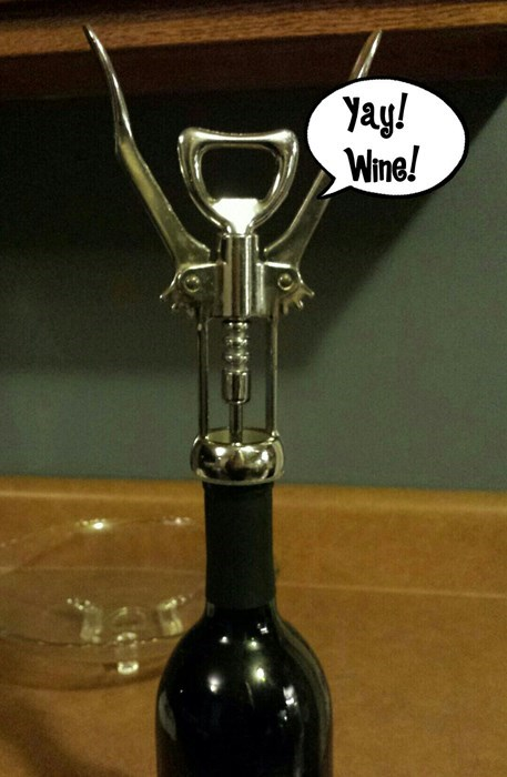 wine bottle opener is happy