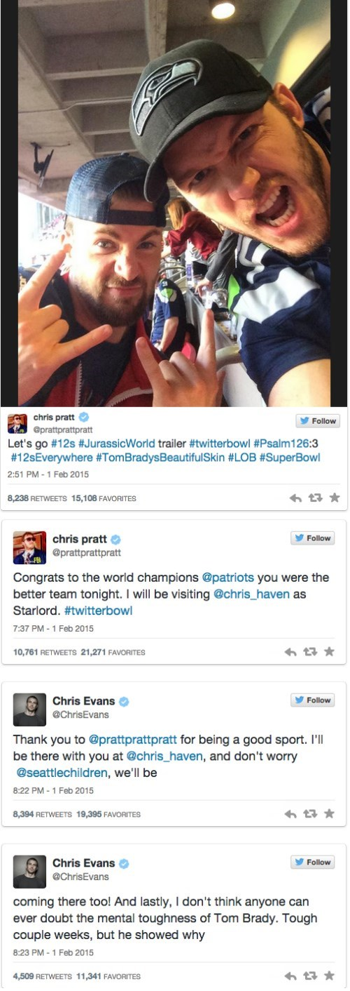 super bowl chris evans chris pratt mcu - 8440044288