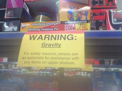 monday thru friday warning sign retail Gravity - 8440171264