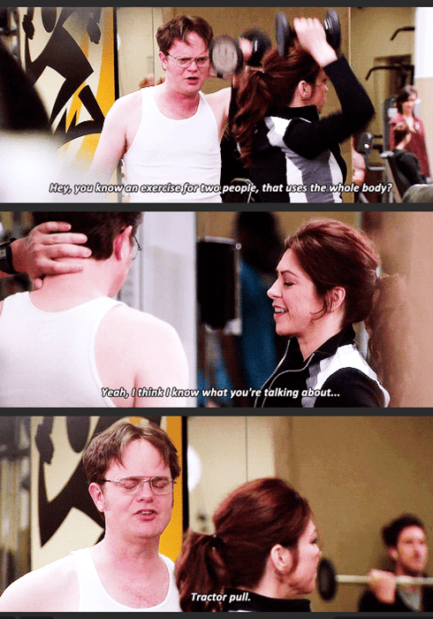 dwight flirts at the gym