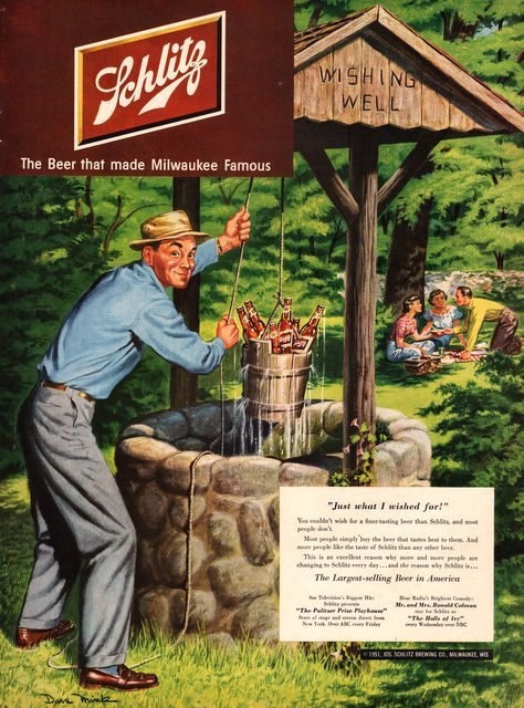 schlitz vintage ads with beer in a well