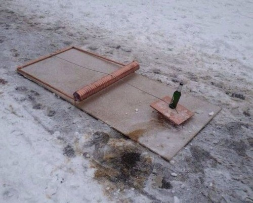 mouse trap with a beer on it