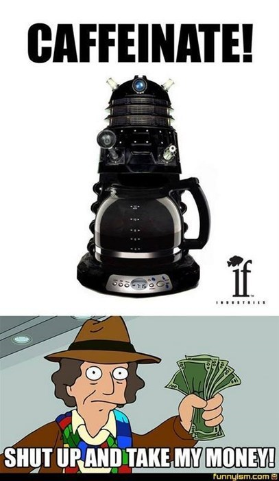 funny doctor who dalek coffee pot pun