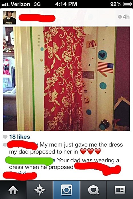 dad proposes in a dress