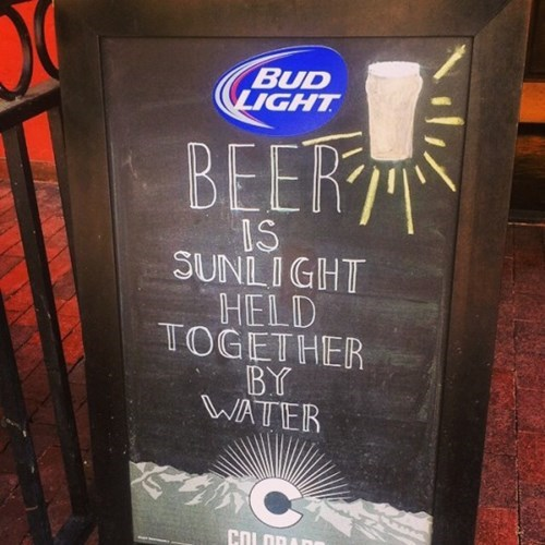 beer is sunlight and water, science says no.