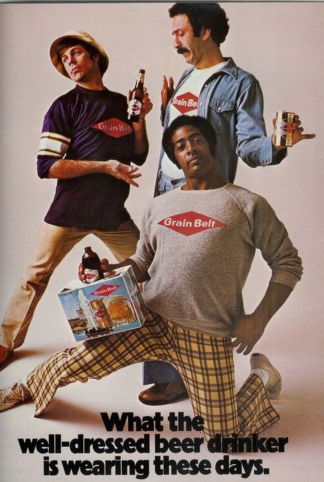 Three wild and crazy guys drinking grain belt