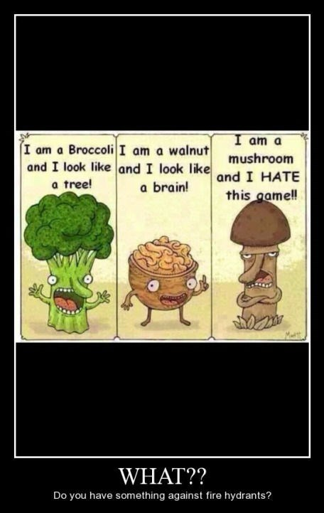 broccoli,mushroom,walnut,funny