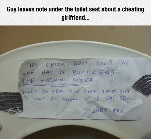 If she's cheating, always leave a note
