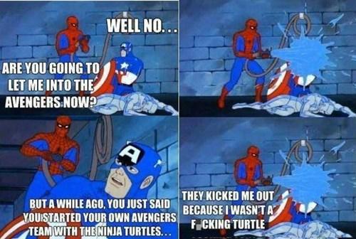 superheroes-spiderman-marvel-captain-america-wont-let-him-in-the-avengers-meme