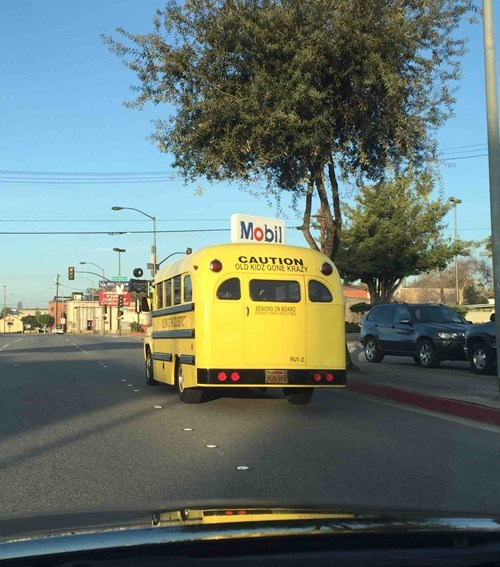 just a bus full of really old students