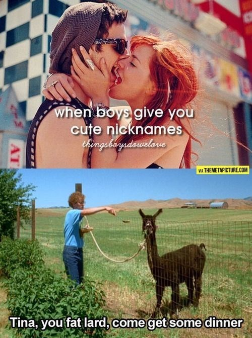 call your girlfriend cute nick names, like fat lard
