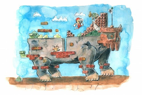 crossover,Fan Art,mario,shadow of the colossus